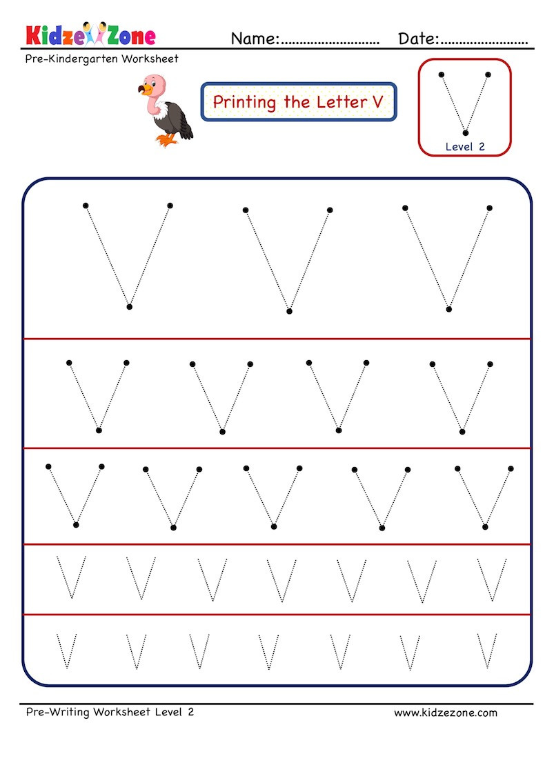 Letter V Worksheets Preschool Preschool Letter Tracing Worksheet Letter V Different