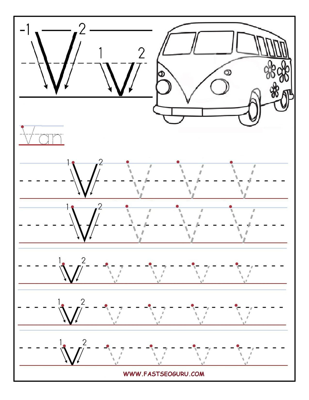 Letter V Worksheets Preschool Printable Letter V Tracing Worksheets for Preschool
