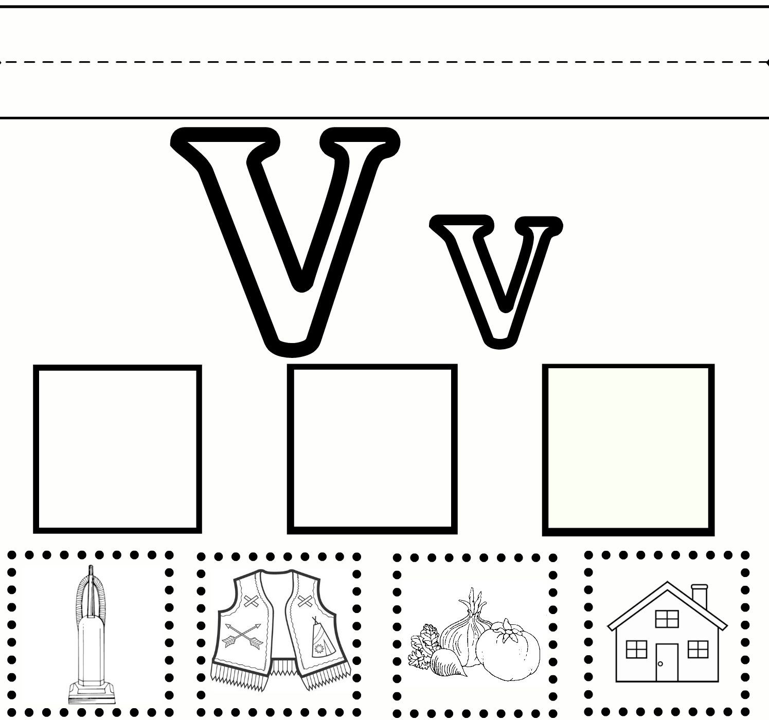Letter V Worksheets Preschool V Practice