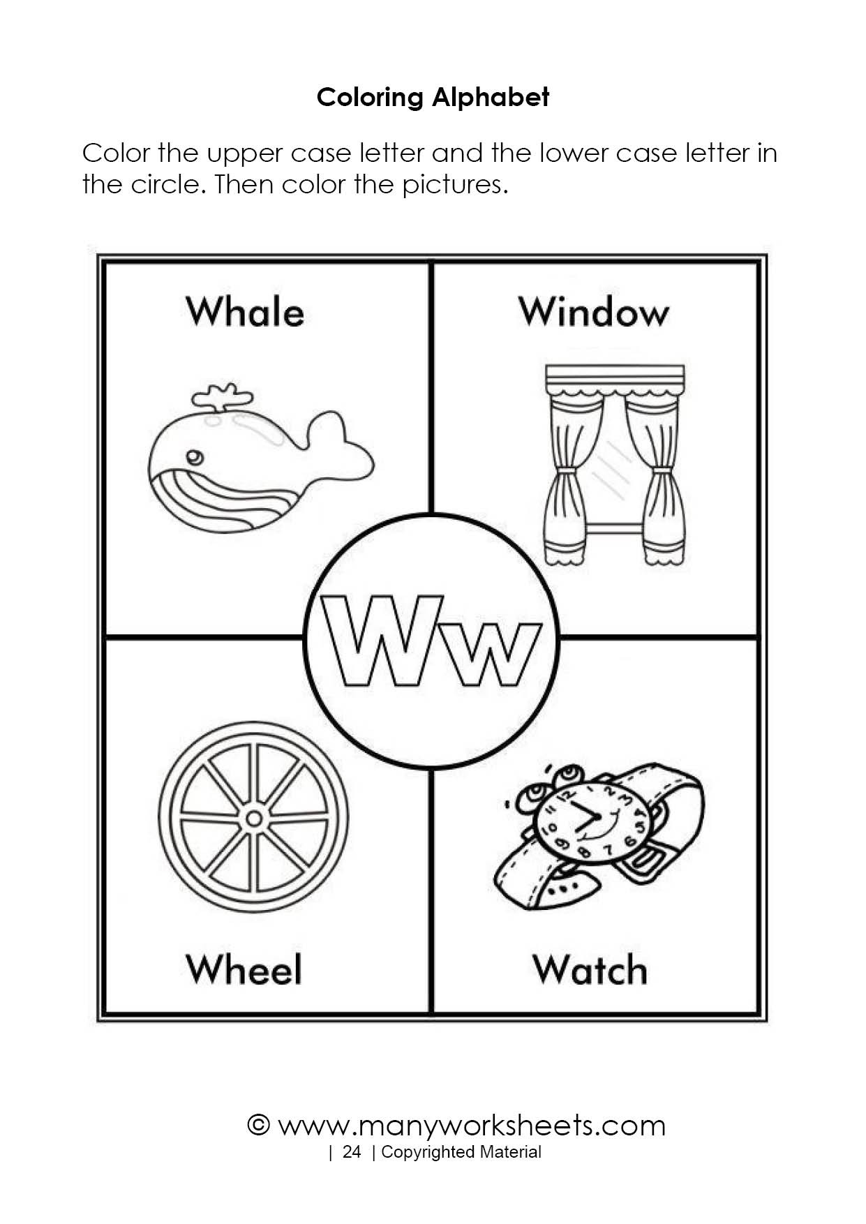 Letter W Worksheets for Preschoolers Alphabet Coloring Pages – Letter W
