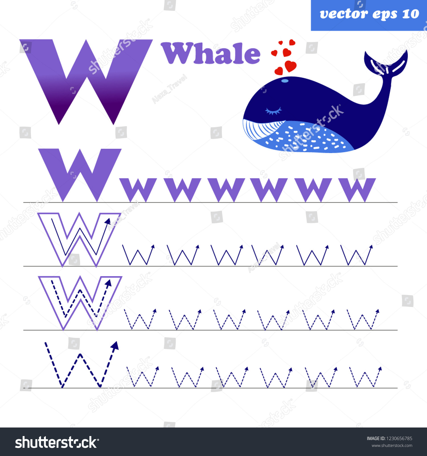 Letter W Worksheets for Preschoolers Alphabet Tracing Letter W Worksheet Preschool Stock Vector