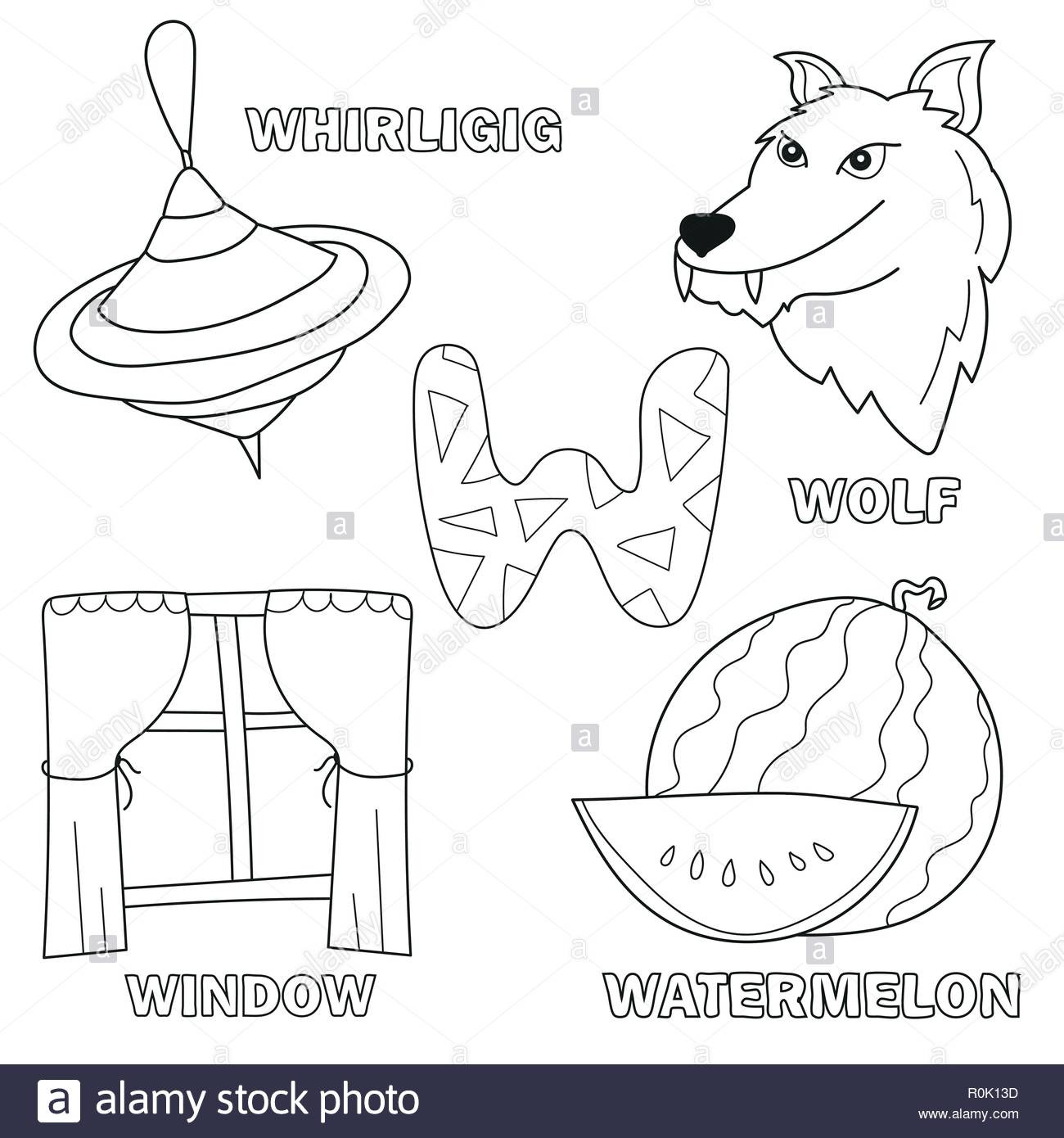 Letter W Worksheets for Preschoolers Black and White Cartoon Vector Illustration Of Letter W