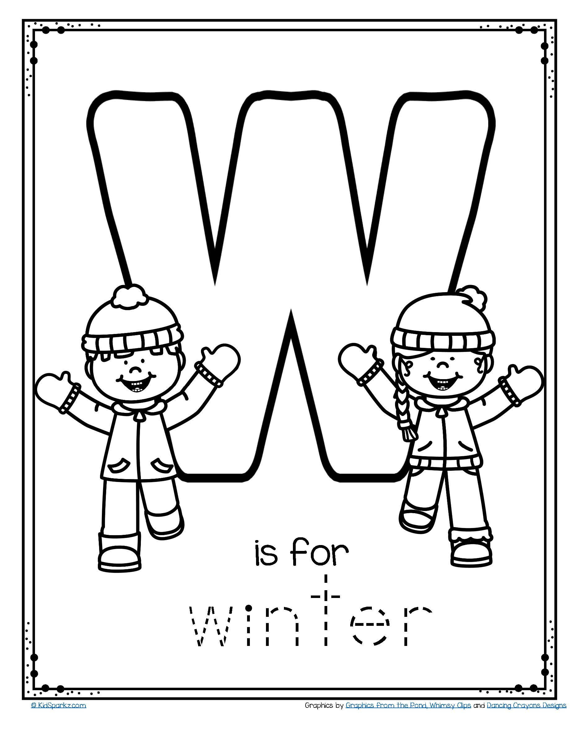 Letter W Worksheets for Preschoolers Free W is for Winter Trace and Color Printable