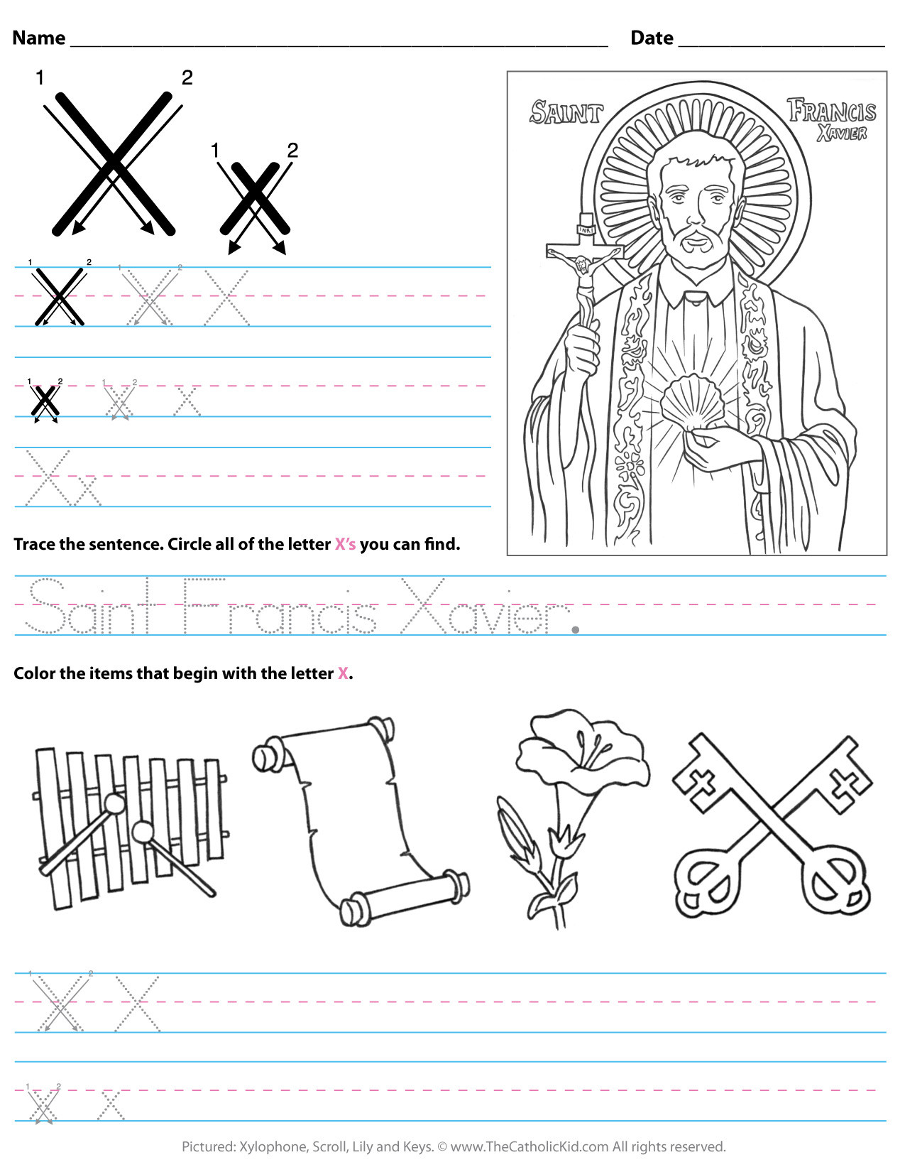 Letter X Worksheets for Preschool Catholic Alphabet Letter X Worksheet Preschool Kindergarten