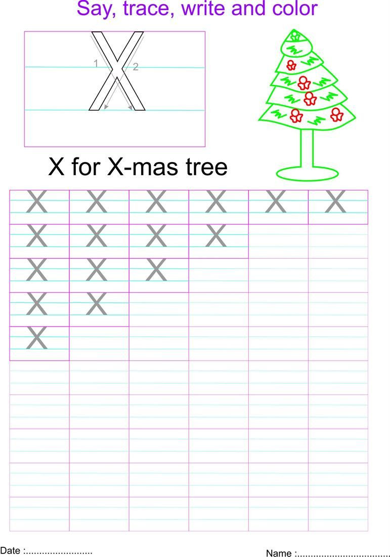 Letter X Worksheets for Preschool English Capital Letter X Worksheet