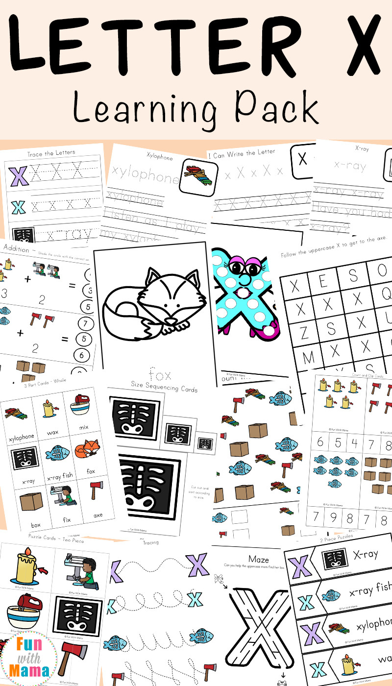 Letter X Worksheets for Preschoolers Letter X Worksheets for Preschool Kindergarten Fun with Mama