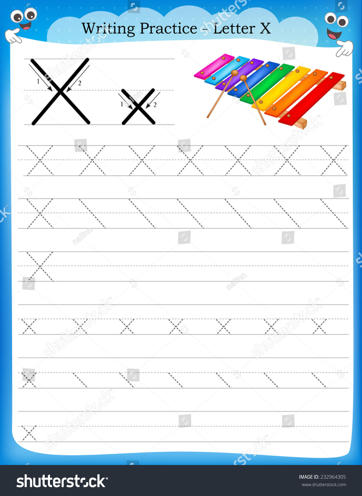 Letter X Worksheets for Preschoolers Writing Practice Letter X Printable Worksheet Stock Vector