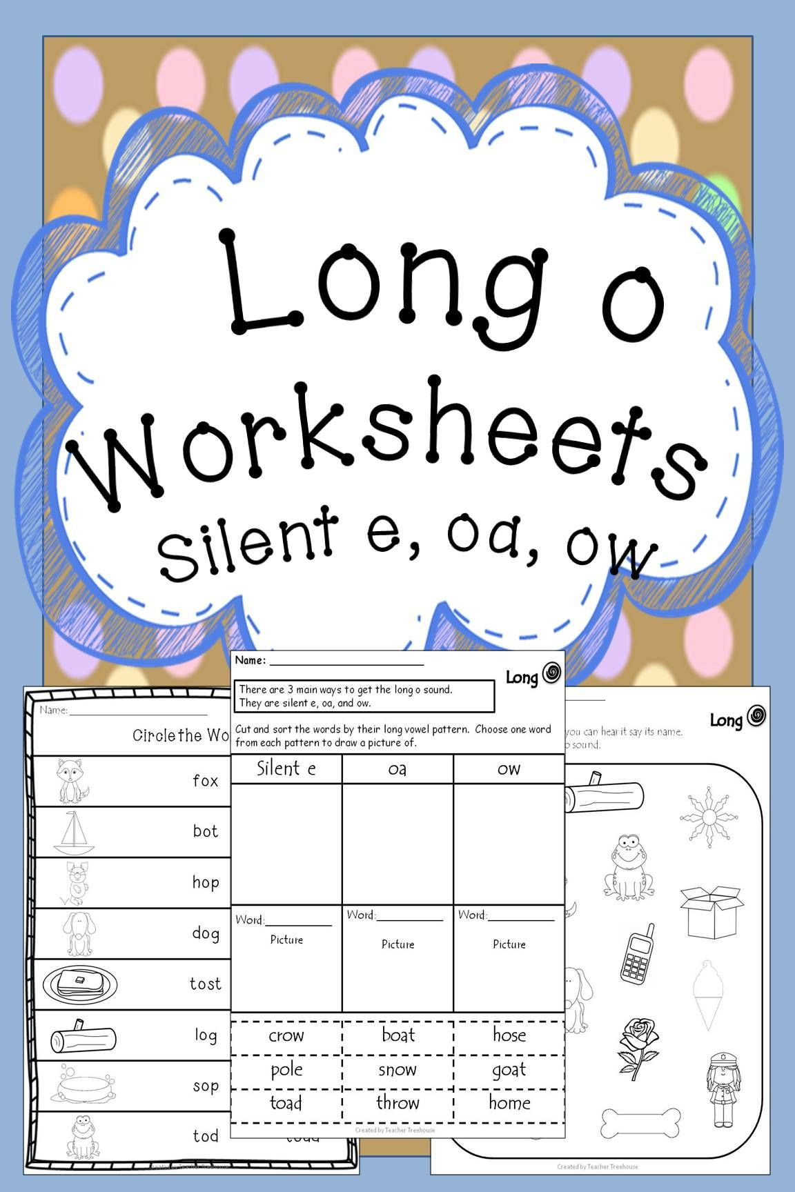 Long O Worksheets Long O oa silent e ow vowel teams