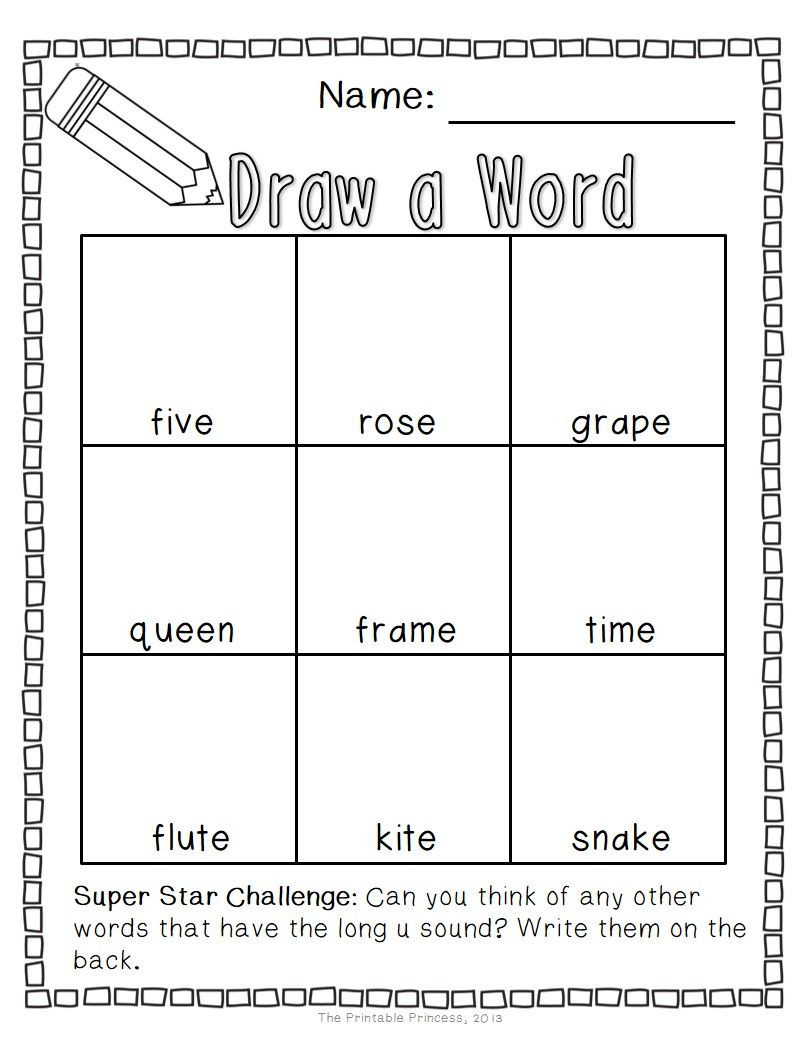Long Vowels Worksheets First Grade Draw A Word Cvce Worksheets