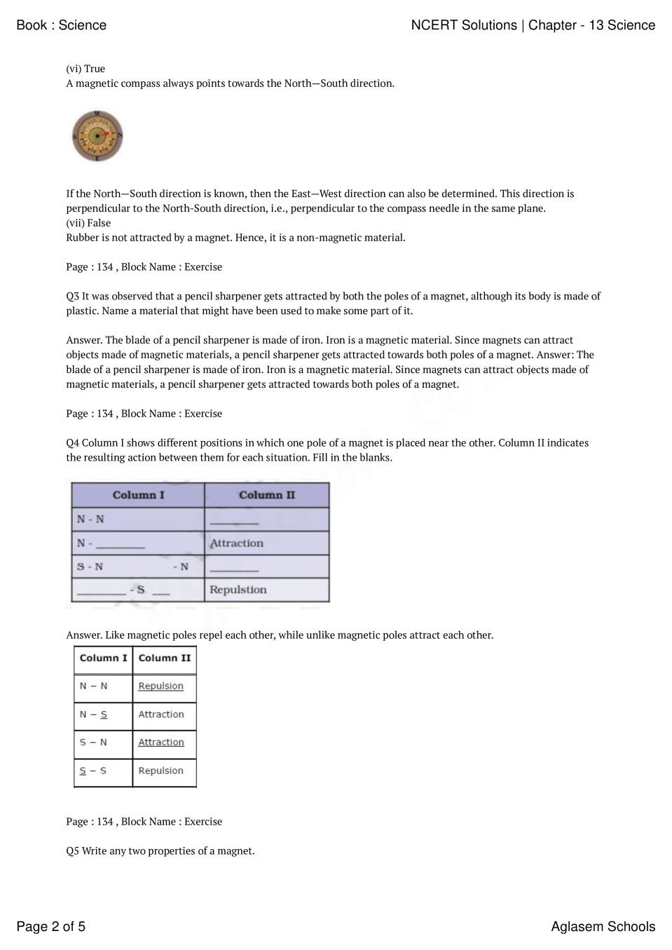 Magnetism Worksheet for High School Ncert solutions Class 6 Science Chapter 13 Fun with Magnets