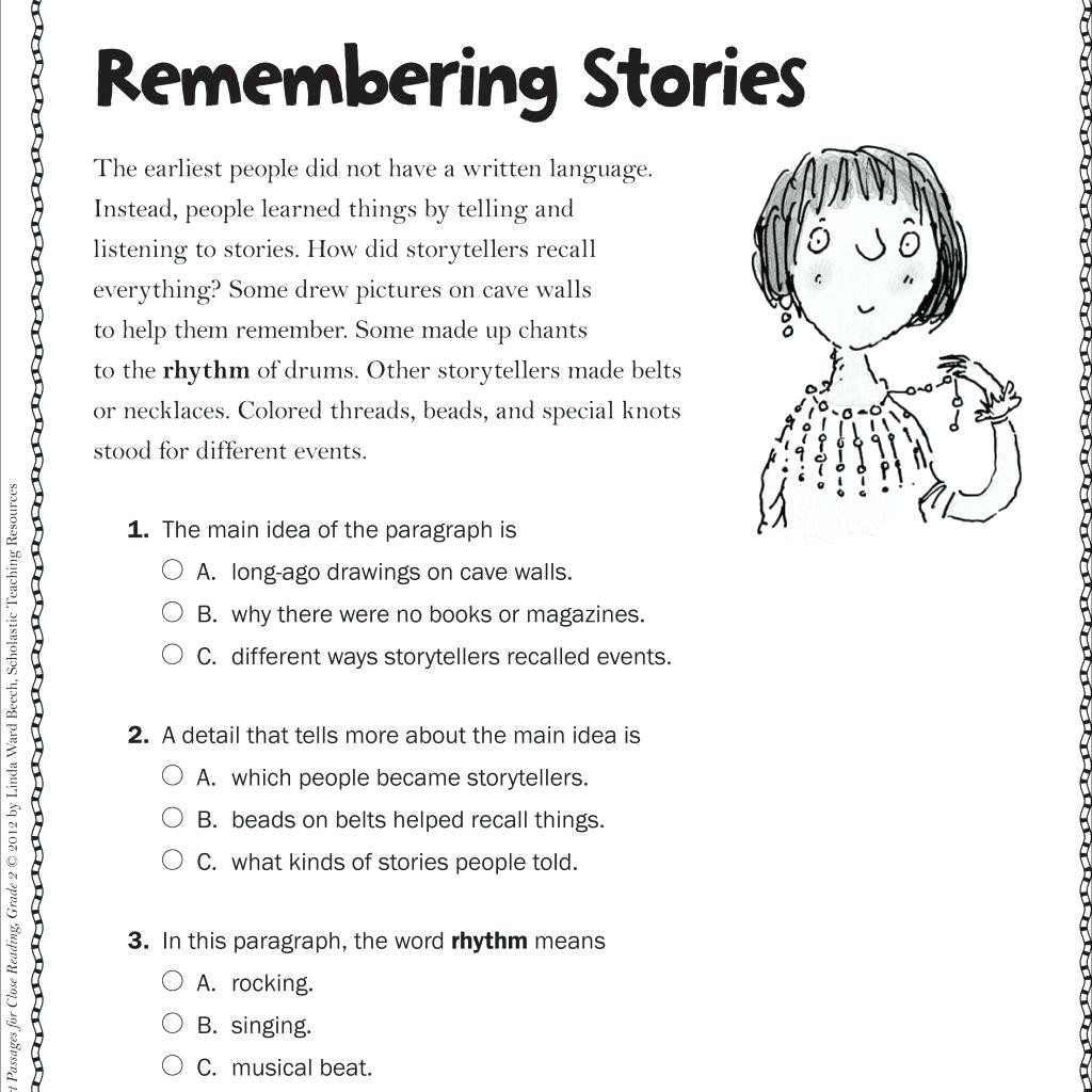 Main Idea 3rd Grade Worksheets Math Worksheet Free Reading Worksheets for 3rd Grade Image
