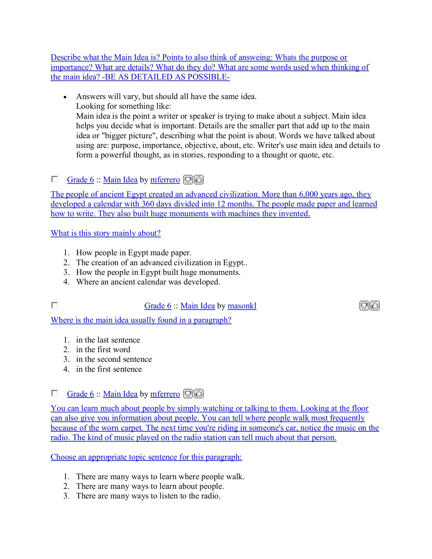 Main Idea Worksheets Grade 1 Sixth Grade Grade 6 Main Idea Worksheets Create
