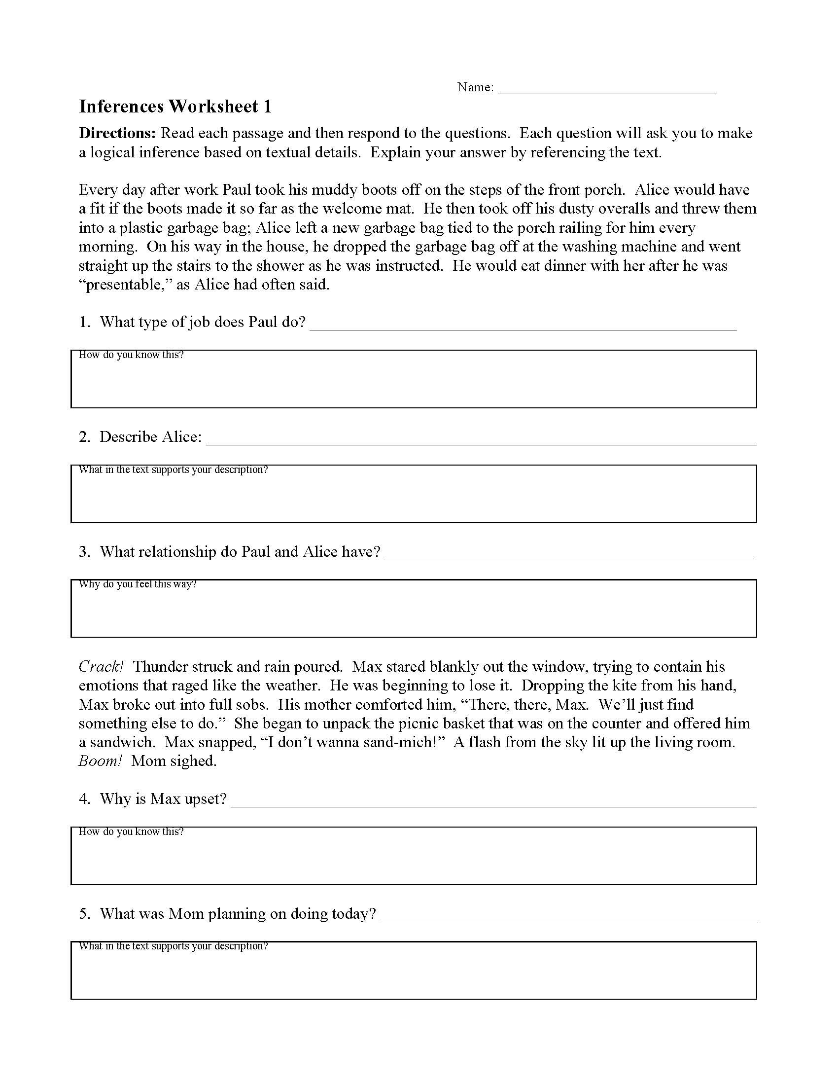 Making Inference Worksheets 4th Grade Inferences Worksheets