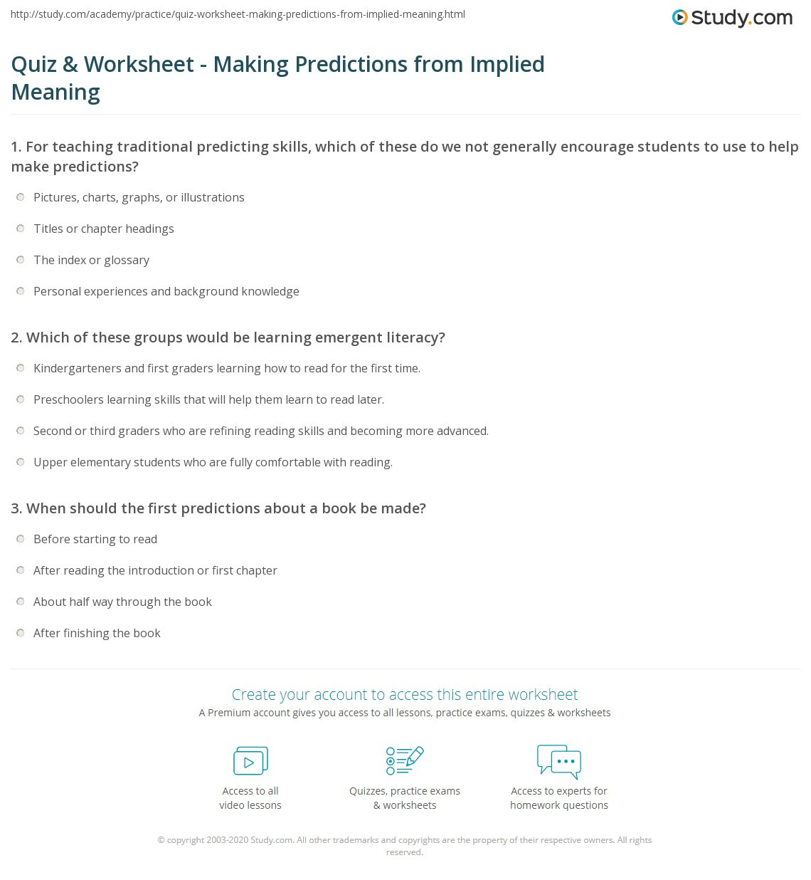 Making Predictions Worksheets 3rd Grade Quiz & Worksheet Making Predictions From Implied Meaning