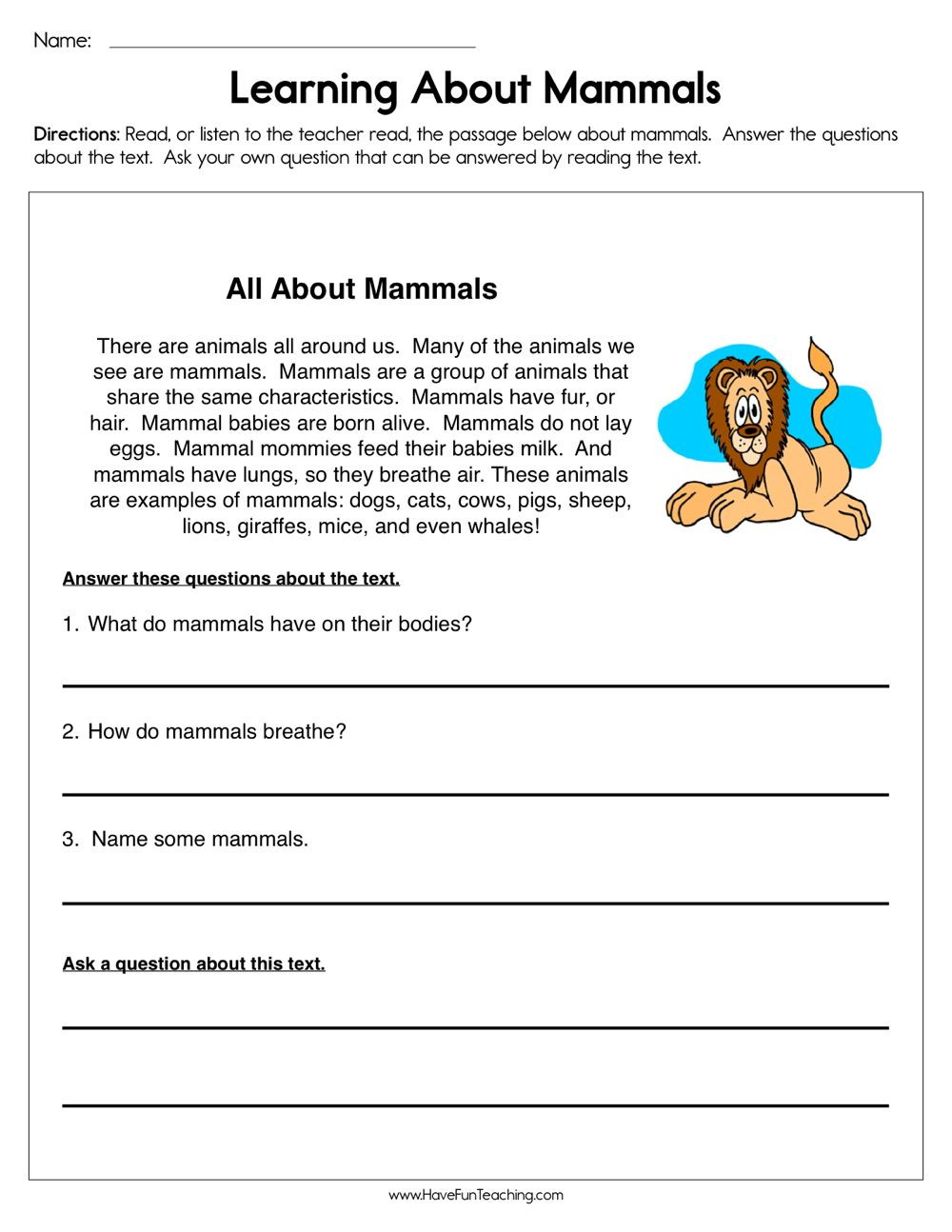 Mammal Worksheets First Grade Pin On Reading Prehension