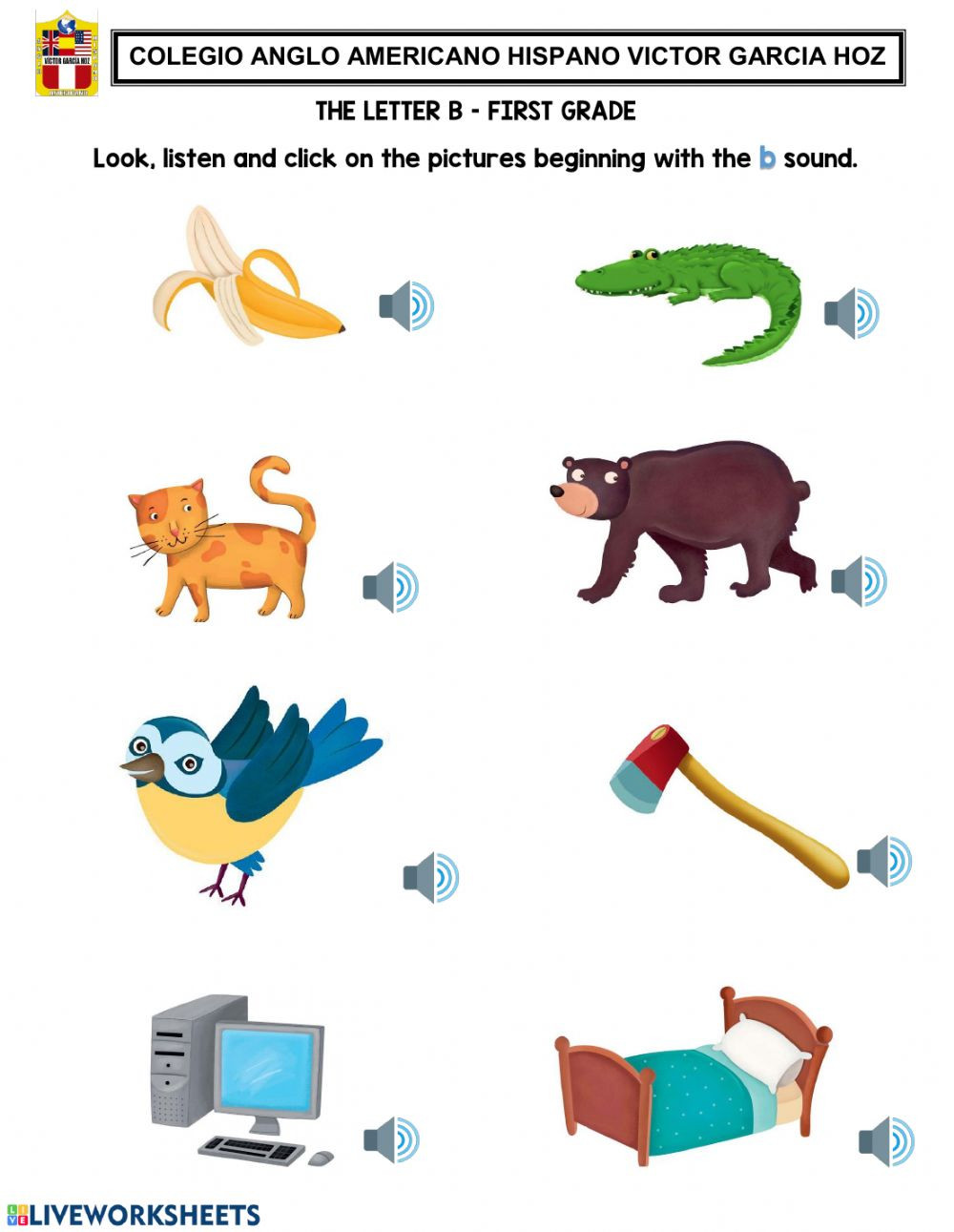 Mammal Worksheets First Grade the Letter B First Grade Interactive Worksheet