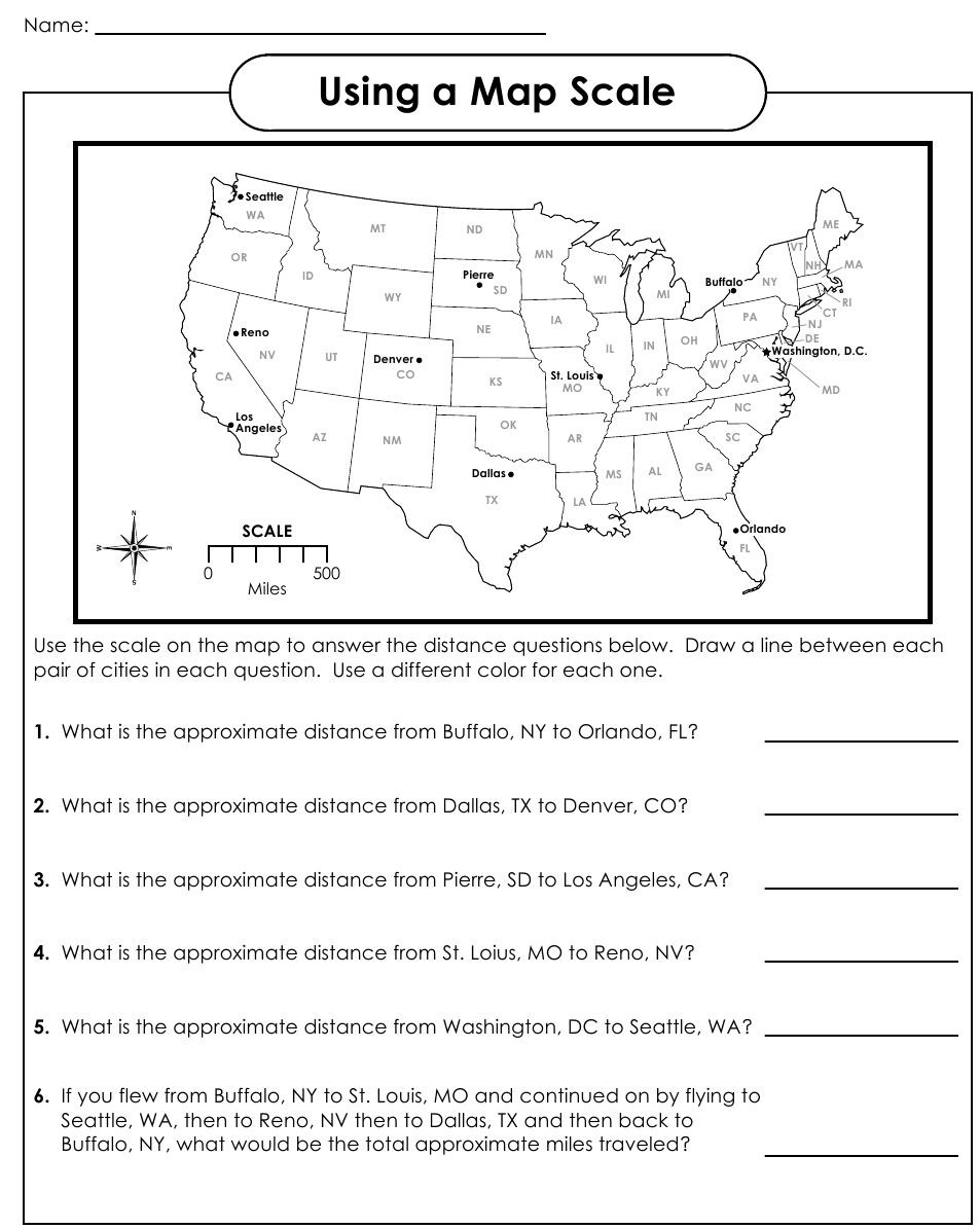 Map Scale Worksheet 4th Grade Using A Map Scale Worksheets