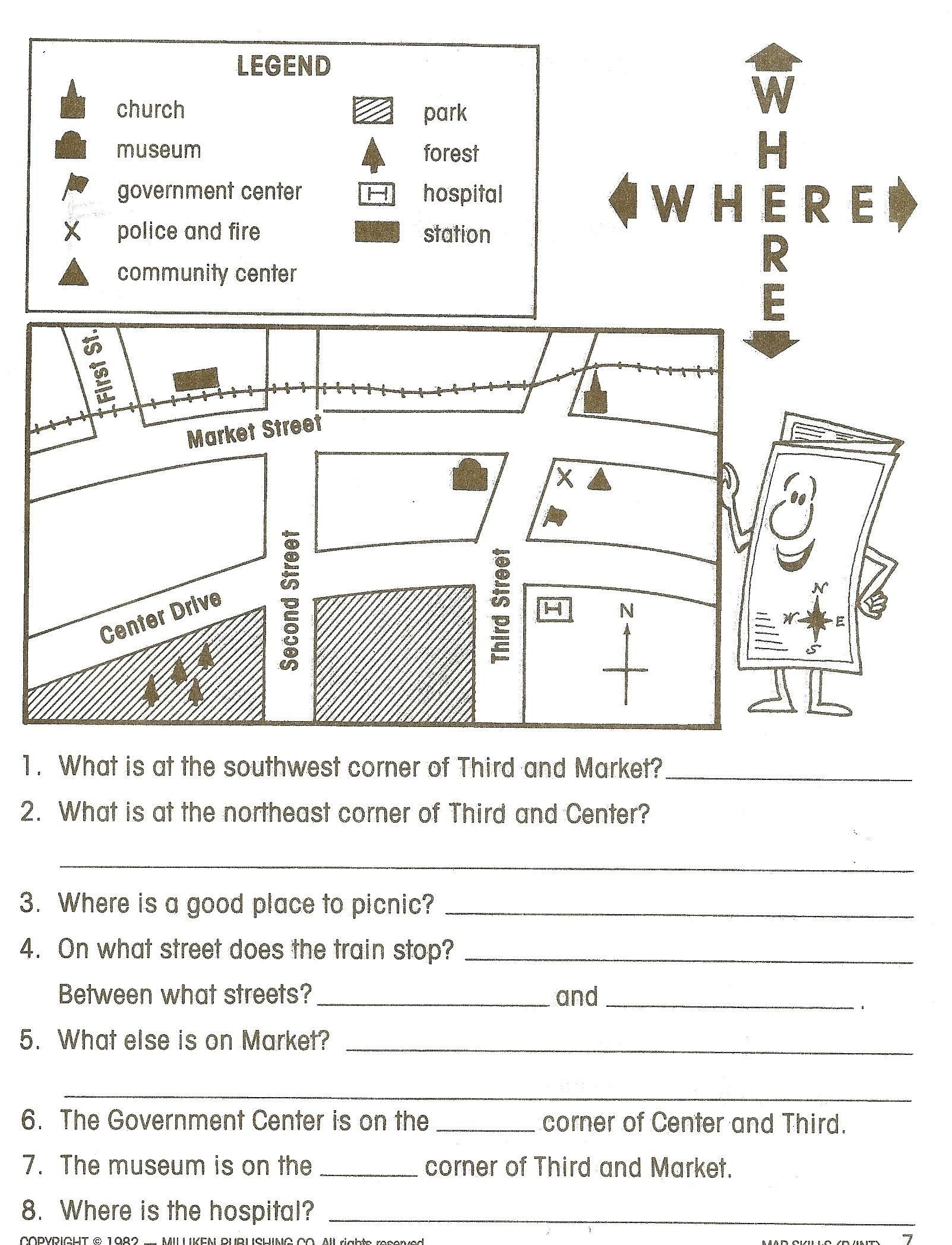 Map Worksheet 2nd Grade Map Reading Worksheets Grade 1 Best