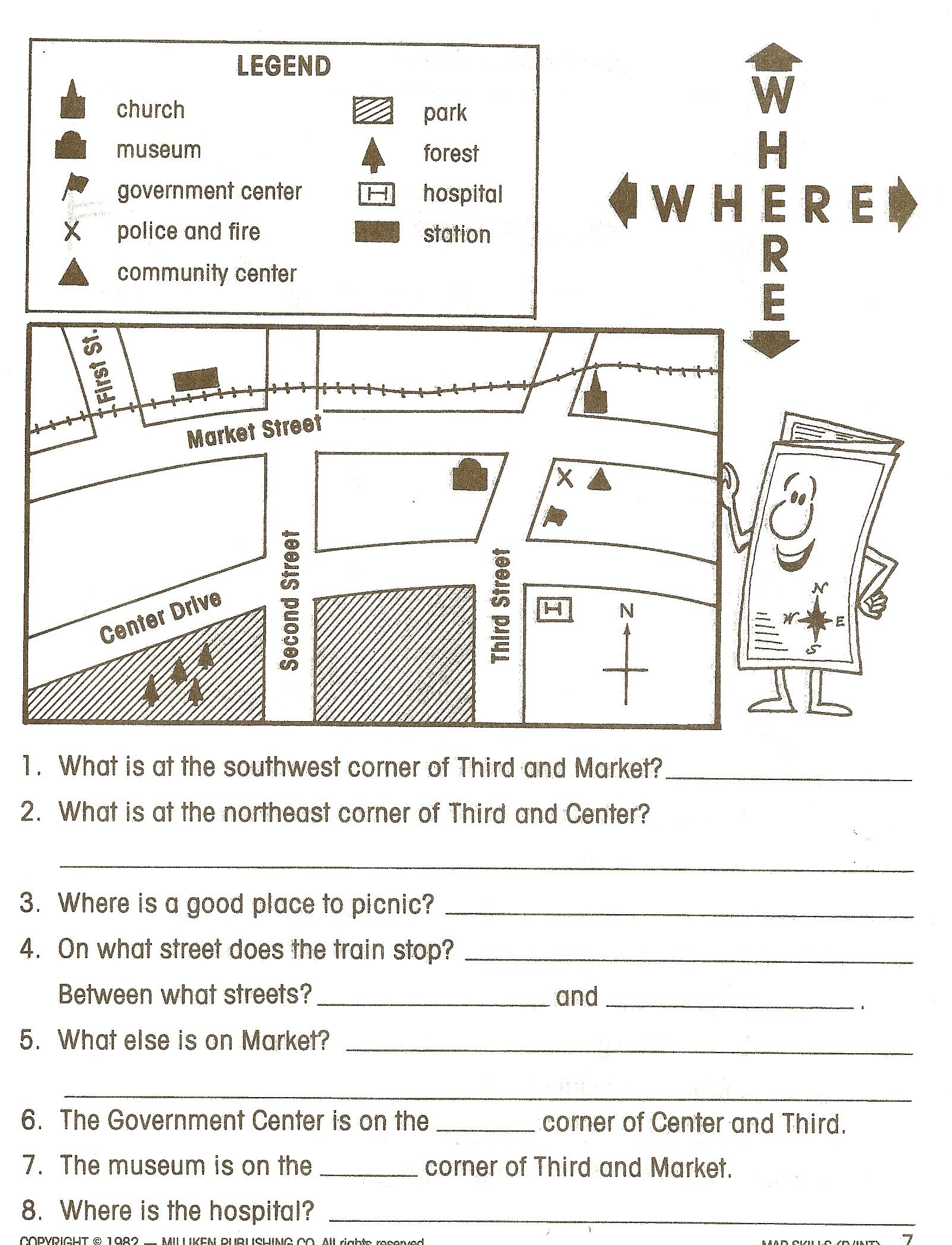 Maps Worksheets 2nd Grade Map Reading Legends 1603—2096