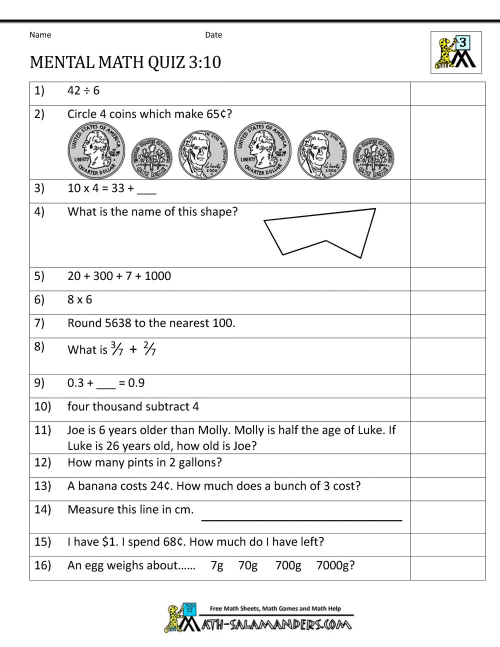 Mass Worksheets 3rd Grade 4 Free Math Worksheets Third Grade 3 Word Problems Mixed