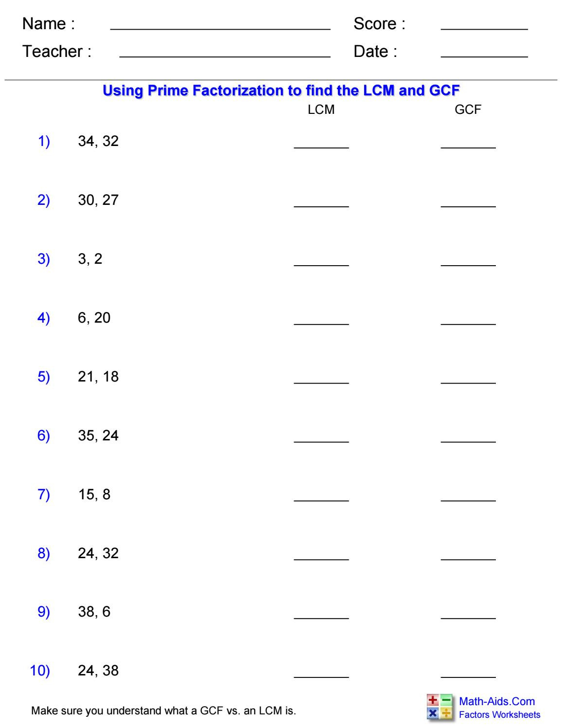 Math Aids Factors Worksheets Lcms and Gcfs by Rebecca Walker asm West ashley issuu