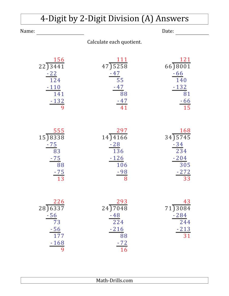 Math Drills Long Division 4 Digit by 2 Digit Long Division with Remainders and Steps