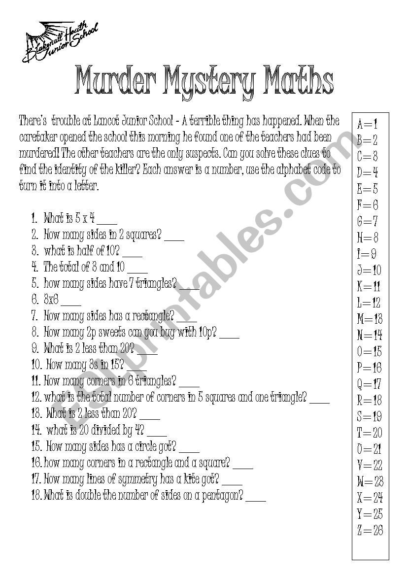Math Mystery Picture Worksheets Math Worksheet Math Mystery Picture Worksheets