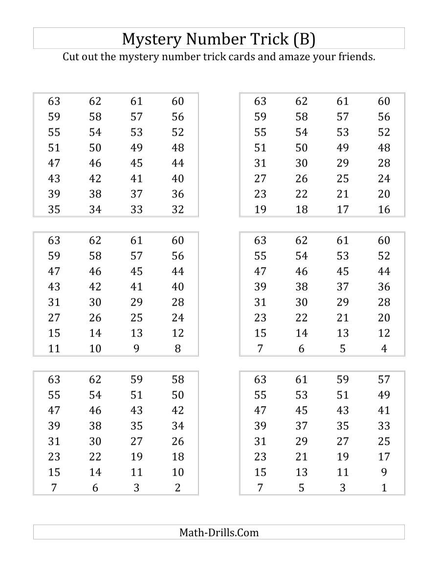 Math Mystery Picture Worksheets Mystery Number Trick B