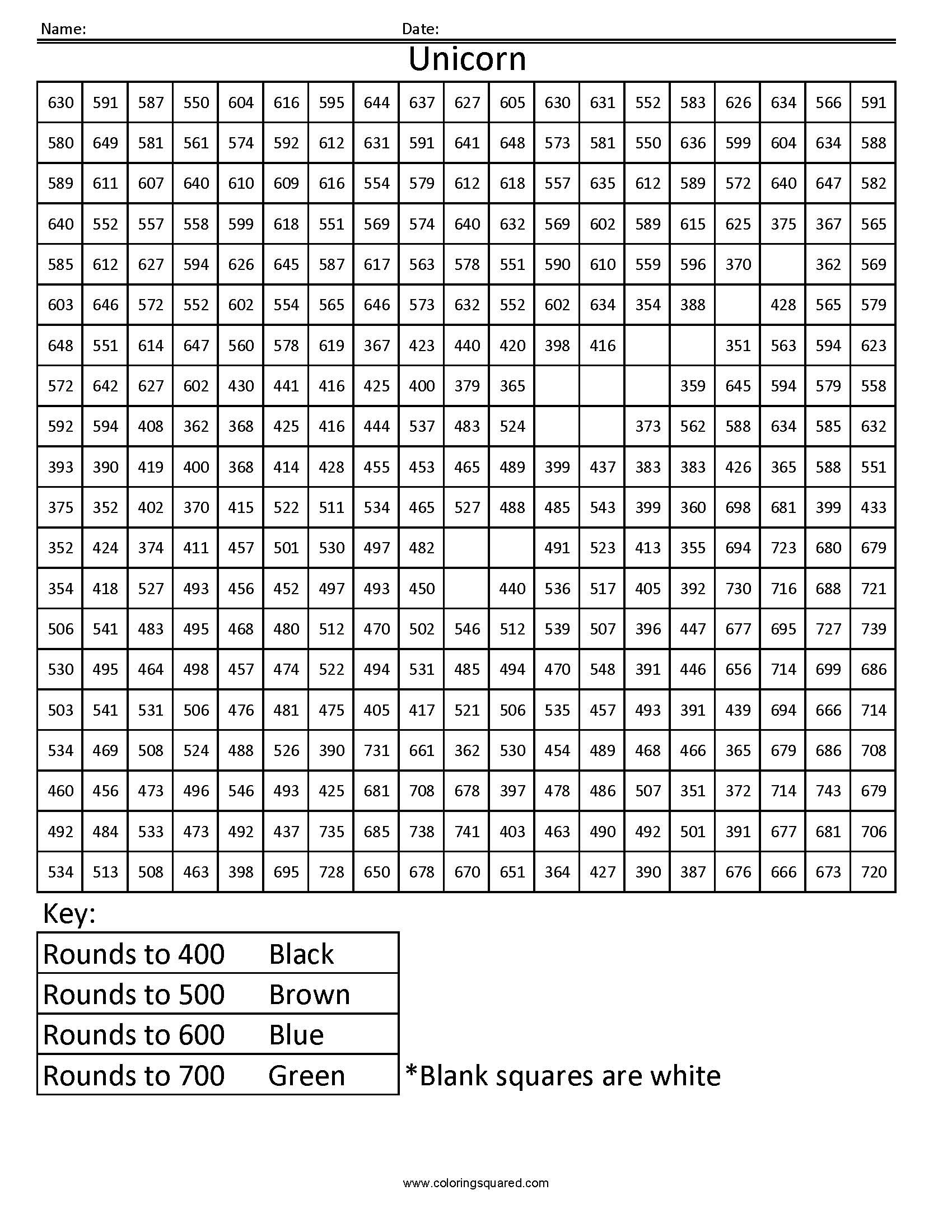 Math Mystery Picture Worksheets Unicorn Rounding Hundreds Place Coloring Squared