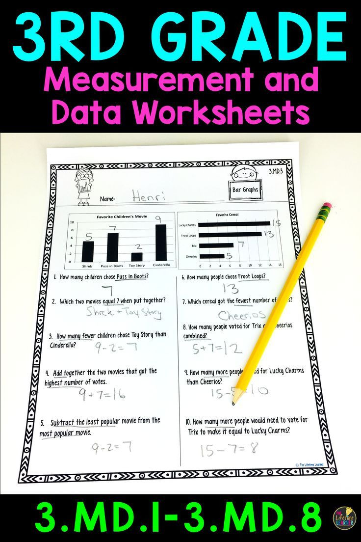 Measurement Worksheets for 3rd Grade 3rd Grade Measurement and Data Worksheets