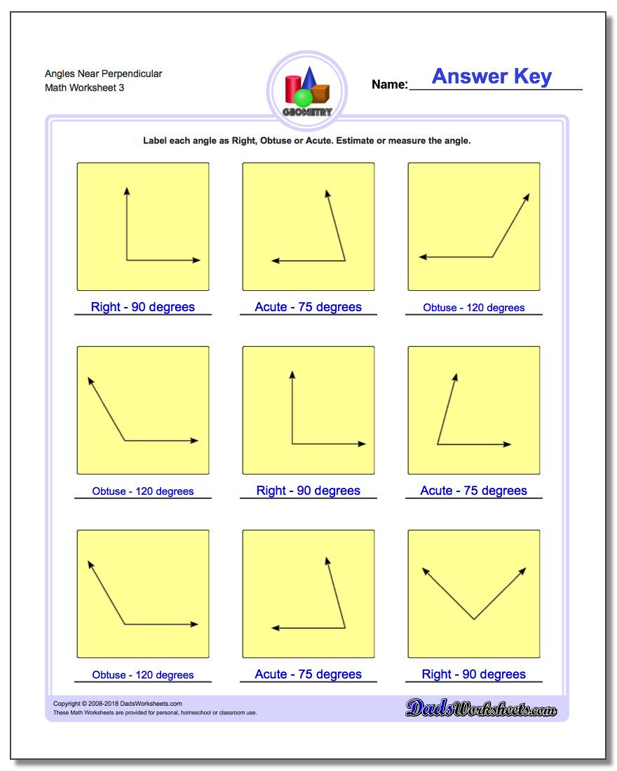 Measurement Worksheets for 3rd Grade Angles Right Obtuse Acute