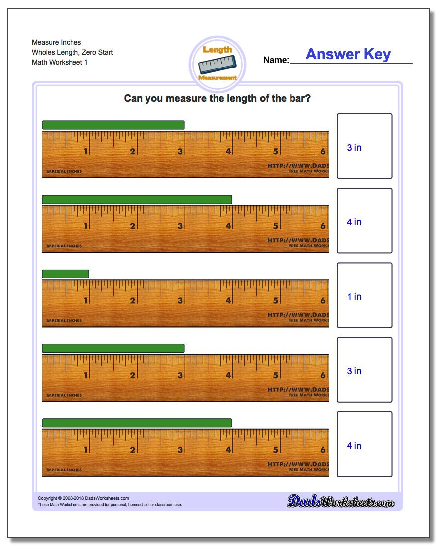 Measurement Worksheets Grade 3 Measure Inches From Zero