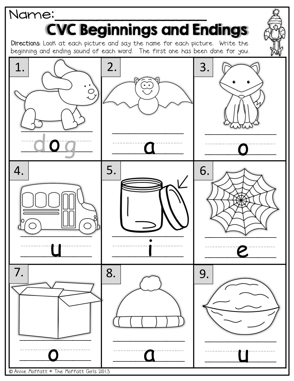 Medial sounds Worksheets First Grade Cvc Beginning and Ending sound Worksheet