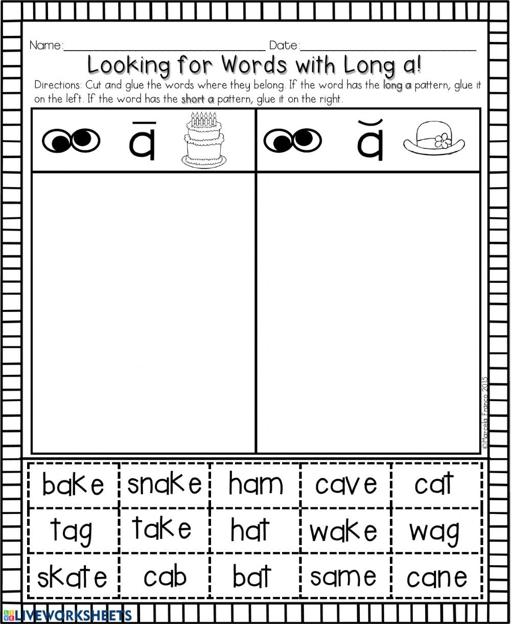 Medial sounds Worksheets First Grade Long A Words with Ai Ay A E Phonics Worksheet