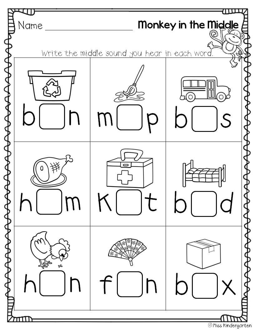 Medial sounds Worksheets First Grade Super Cvc Practice