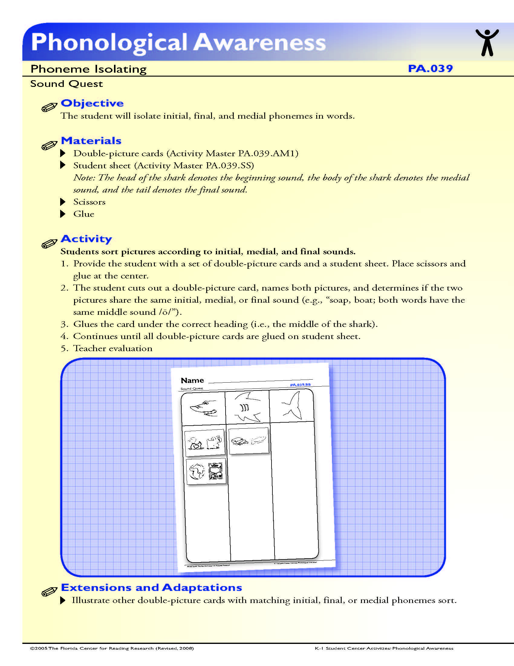 Medial sounds Worksheets First Grade the Student Will isolate Initial Final and Medial Phonemes