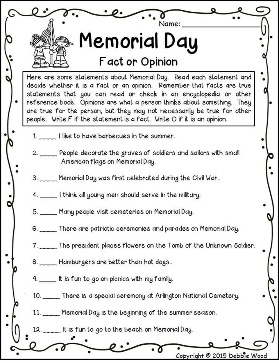 Memorial Day Worksheets First Grade Celebrate Memorial Day In Your Second or Third Grade 2nd