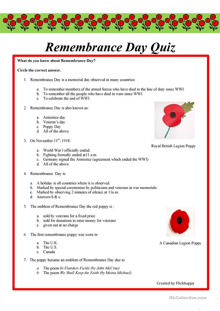 Memorial Day Worksheets First Grade English Esl Remembrance Day Worksheets Most Ed 10