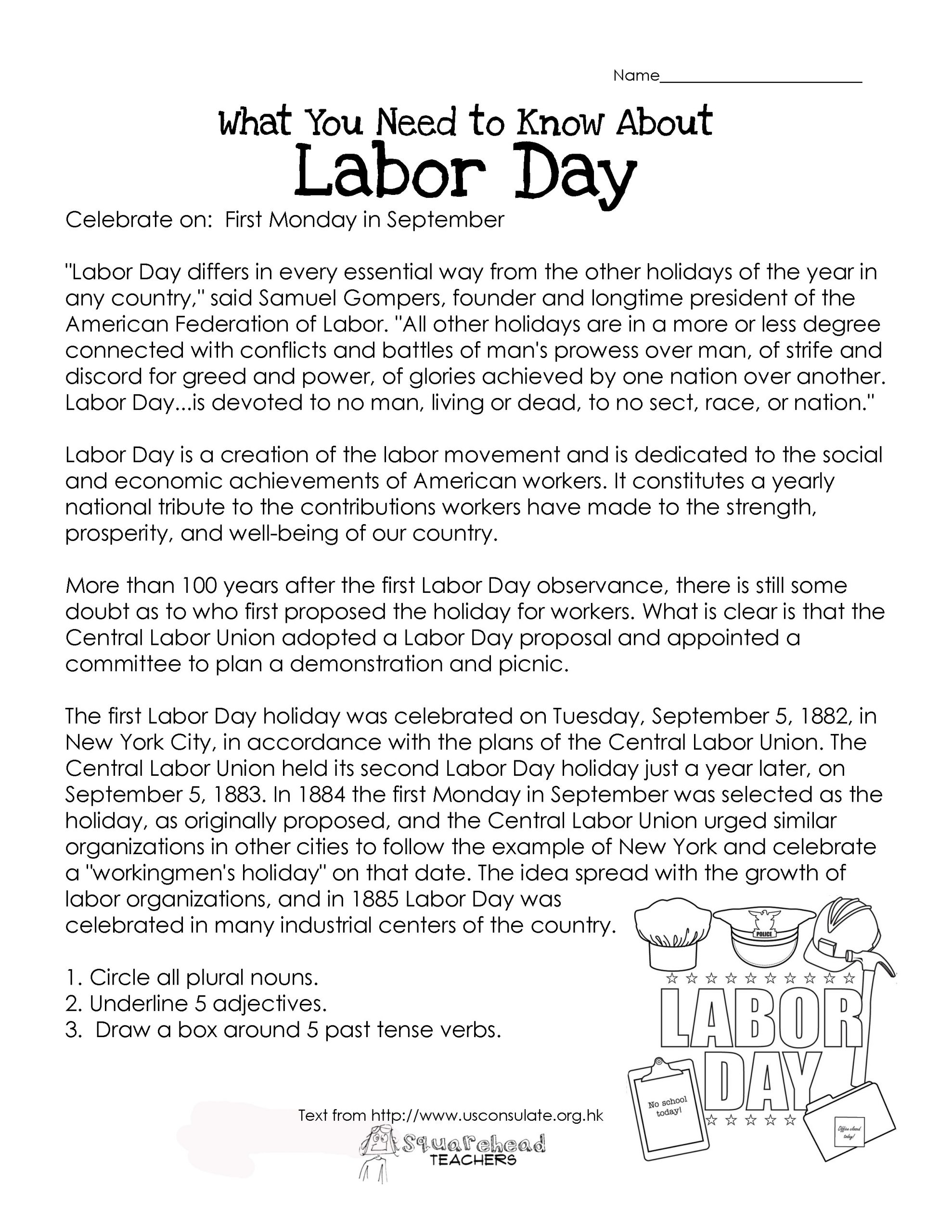 Memorial Day Worksheets First Grade Labor Day What You Need to Know Free Worksheet
