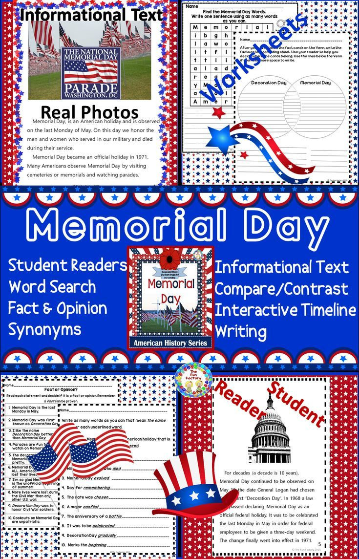 Memorial Day Worksheets First Grade Memorial Day Activities and Worksheets