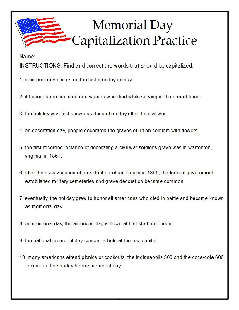 Memorial Day Worksheets First Grade Memorial Day Capitalization Practice