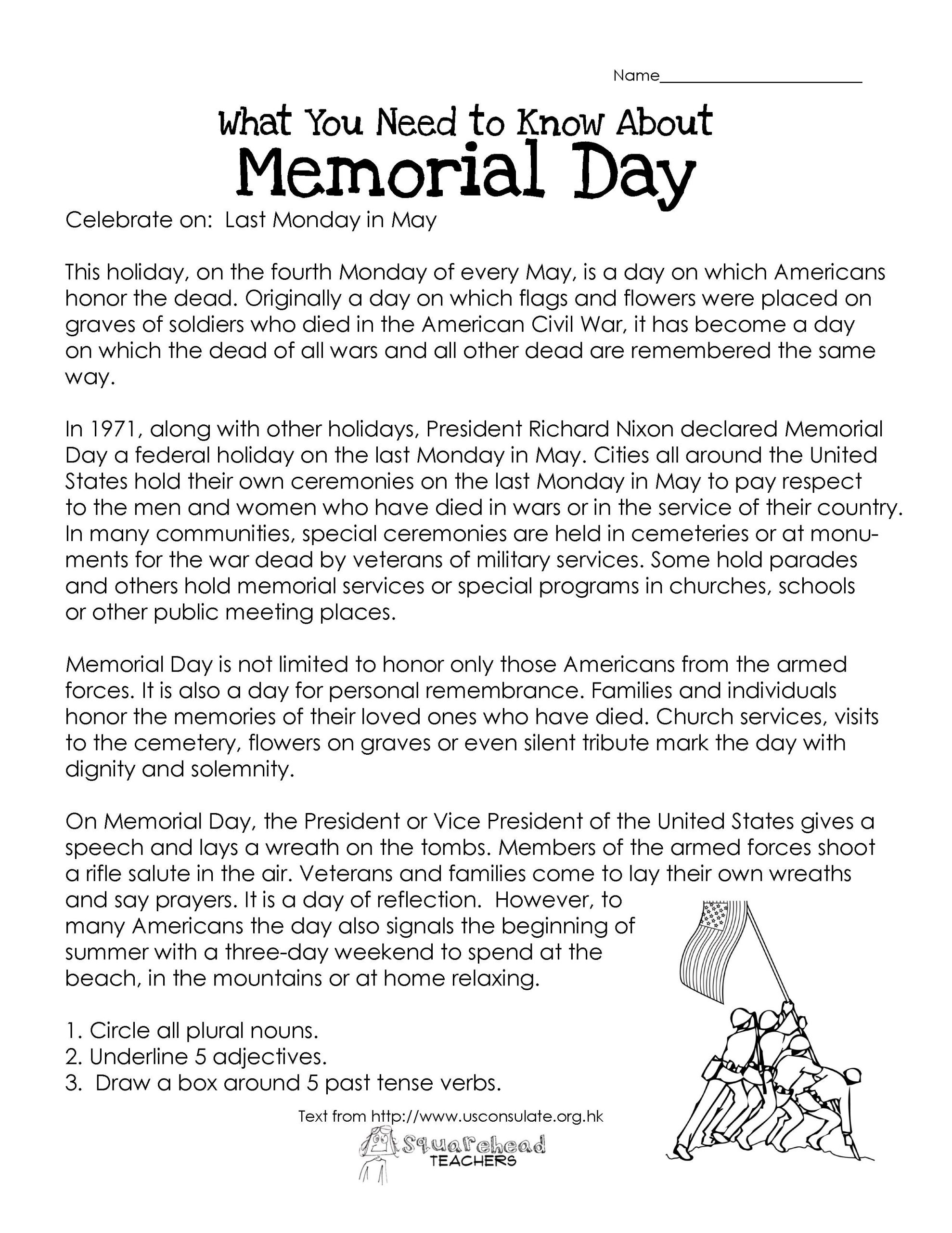 Memorial Day Worksheets First Grade Memorial Day Free Worksheet