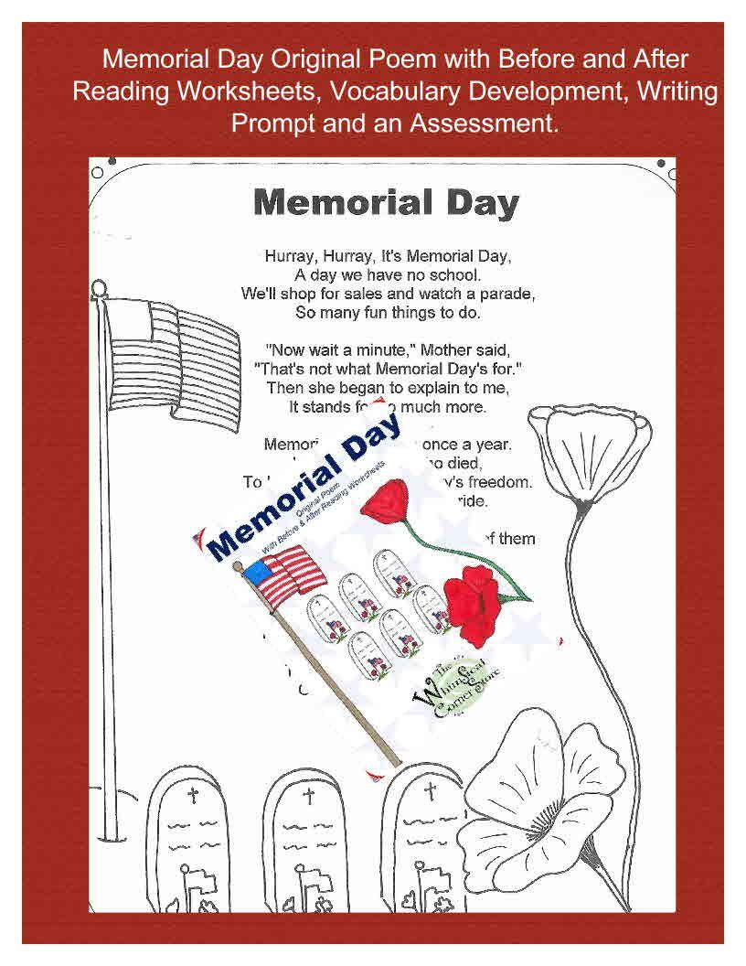 Memorial Day Worksheets First Grade Memorial Day original Poem with before and after Reading