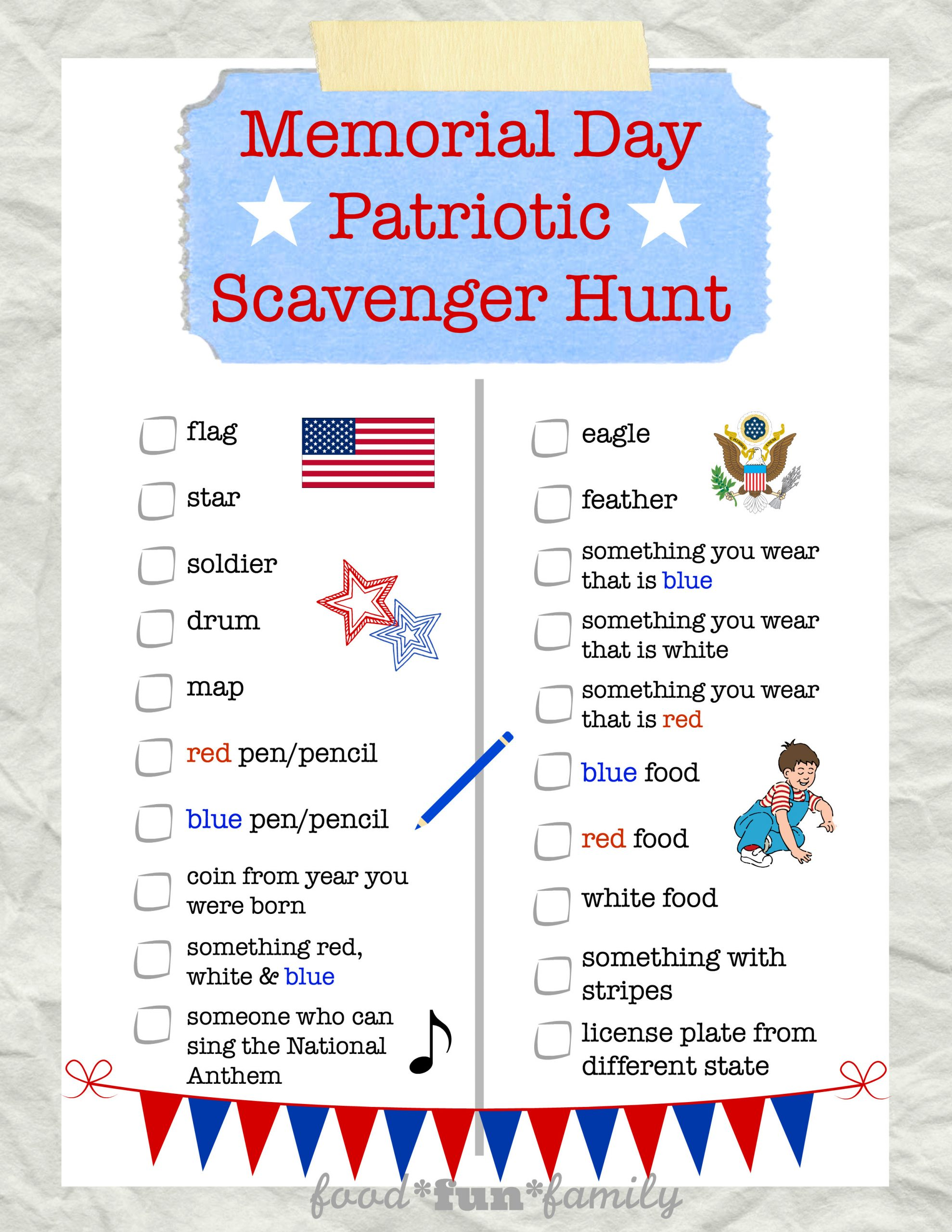 Memorial Day Worksheets First Grade Memorial Day Scavenger Hunt for Kids