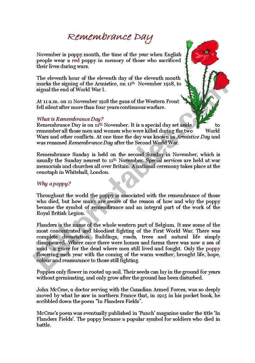 Memorial Day Worksheets Free Printable Remembrance Day Esl Worksheet by Crijus13