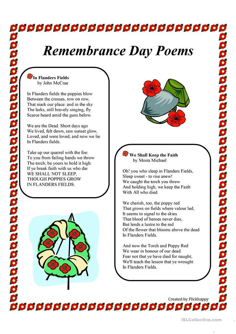 Memorial Day Worksheets Free Printable Remembrance Day Poems