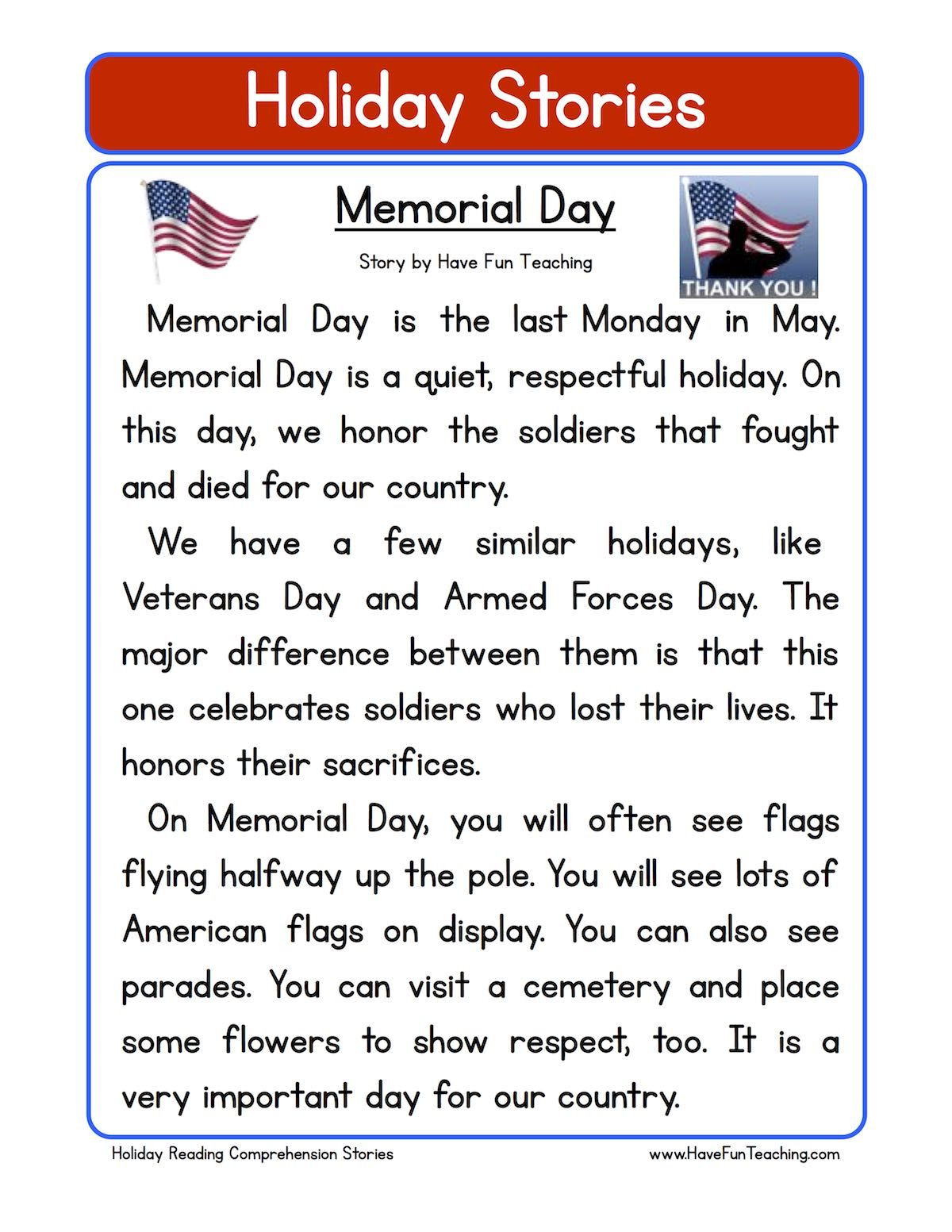 Memorial Day Worksheets Free Printable Worksheet for Memorial Day