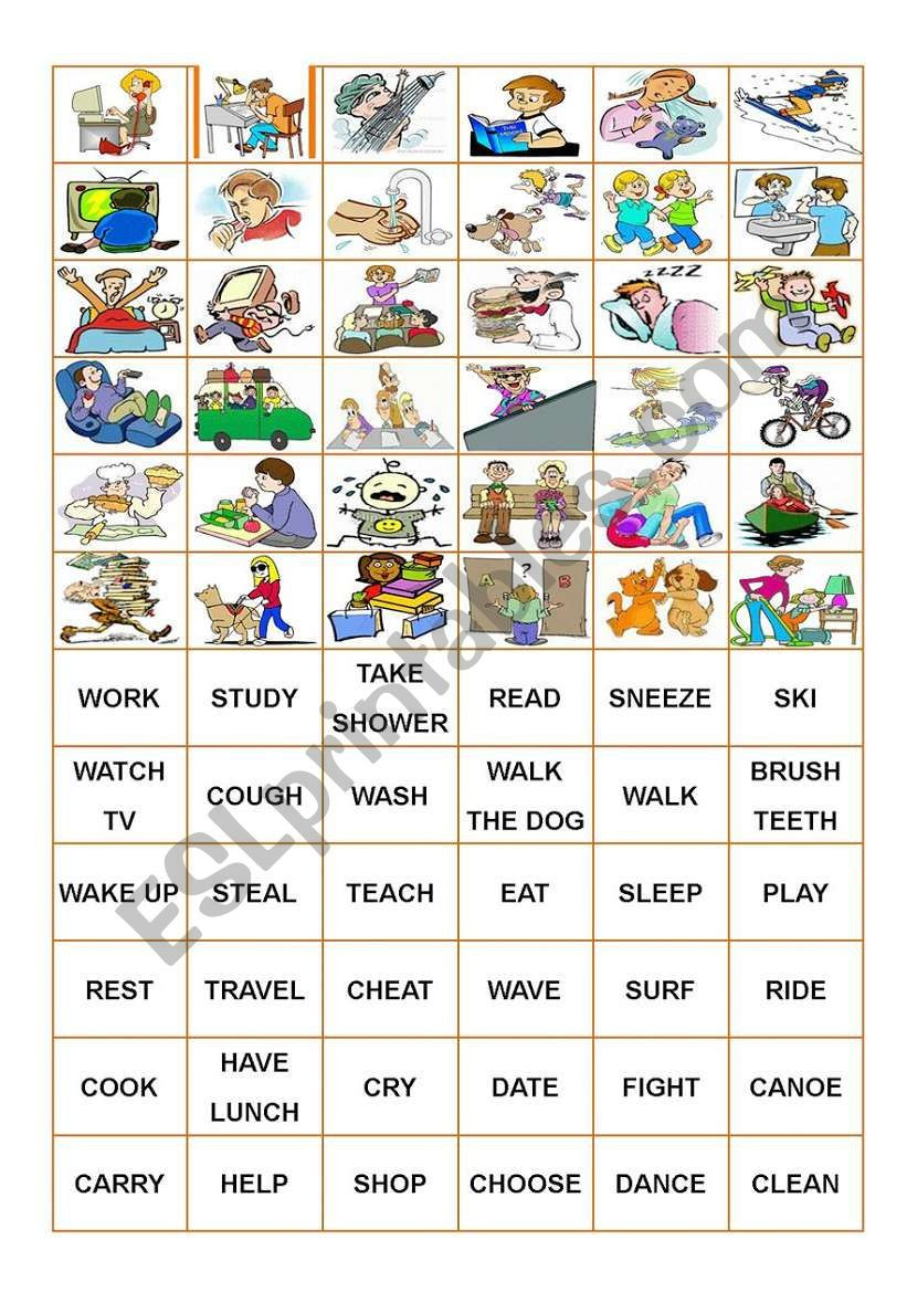 Memory Exercises for Adults Printable Verbs Memory Game Cards Esl Worksheet by Zailda