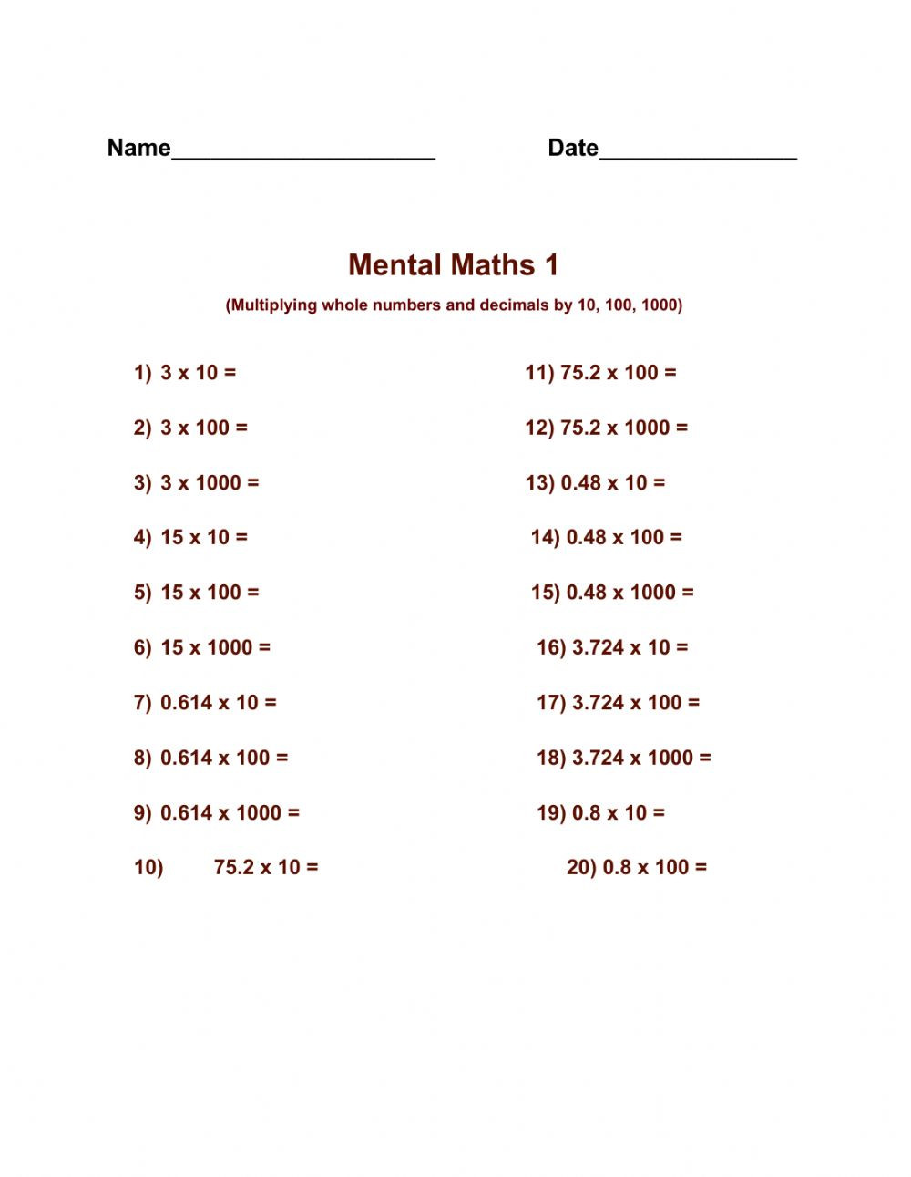 Mental Math Multiplication Worksheets Mental Maths 1 Interactive Worksheet