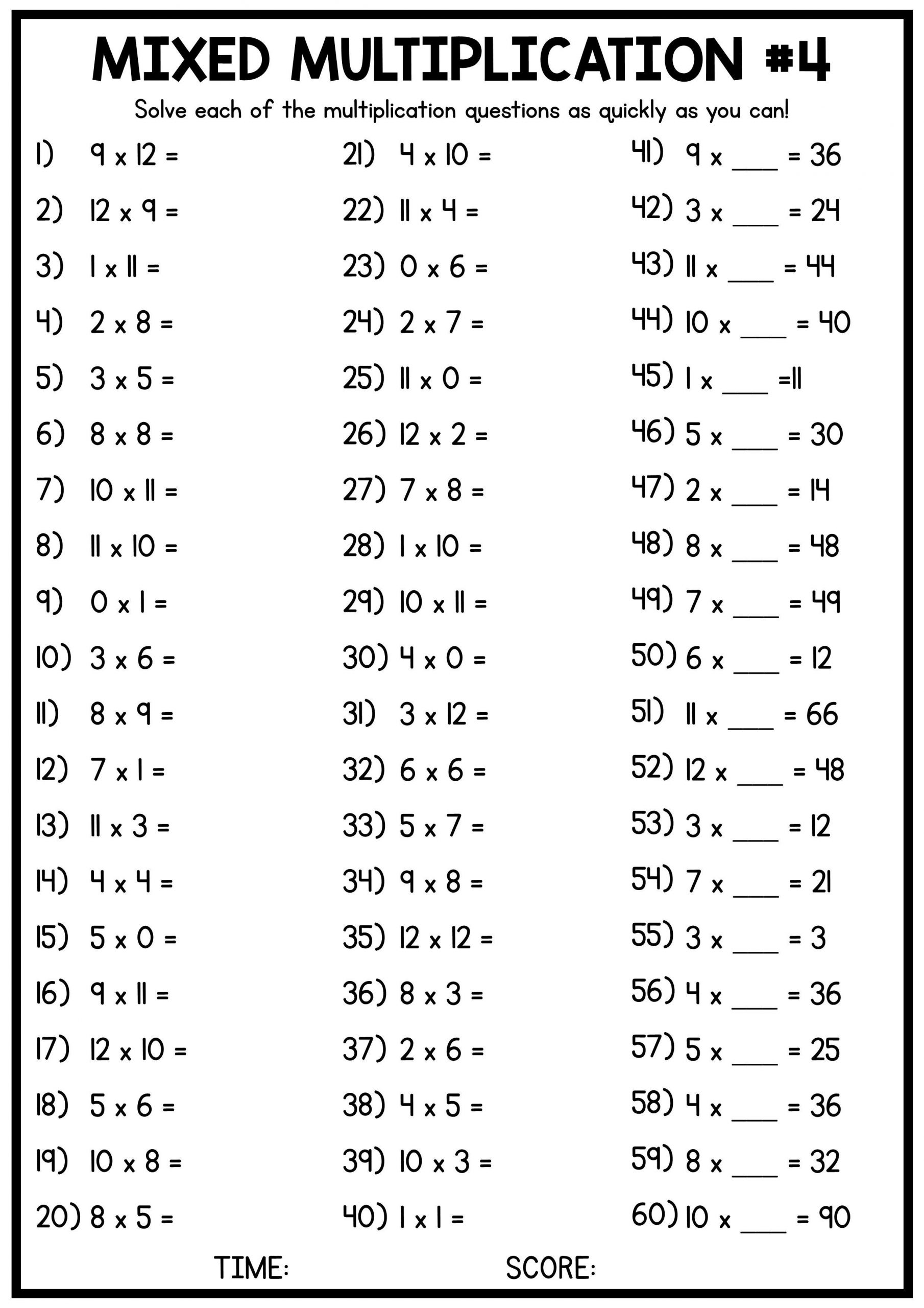 Mental Math Multiplication Worksheets Mixed Multiplication Times Table Worksheets 4 Free